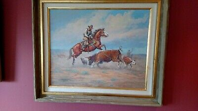 """Fred Oldfield - Original Oil On Canvas - Framed and Signed - """"Gettin In The Act"""""""