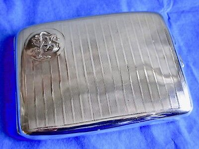WWI Charles Green& Co Antique Sterling Silver Vermeil Gold Cigarette Case