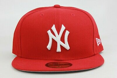 22a5c6c79b9 New York Yankees Red White Gry Under Visor MLB New Era 59Fifty Fitted Hat  Cap NY