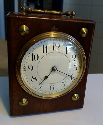 Antique French Carriage / Mantel  Clock - France-  Brass wooden