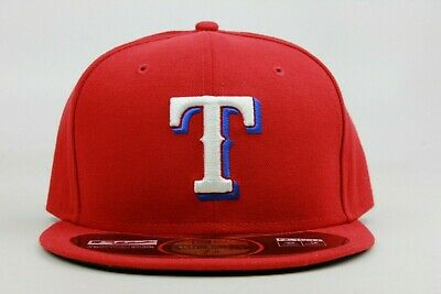 newest 674f7 8928d Texas Rangers Red White Blue On Field MLB New Era 59Fifty Fitted Hat Cap  Tech TX