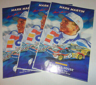 (3) SPORTS POSTERS~Mark Martin NASCAR Maxwell House #6 2001 Roush Racing Signed