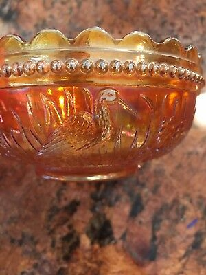 """DUGAN Stork and Rushes Marigold Carnival Glass 4-1/2"""" BERRY BOWL Antique"""