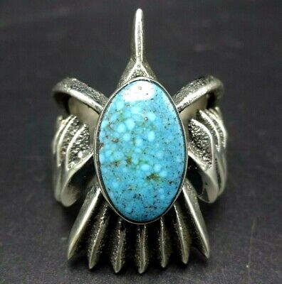 Aaron Anderson NAVAJO Tufa Cast Sterling Silver WATERWEB TURQUOISE RING size 11