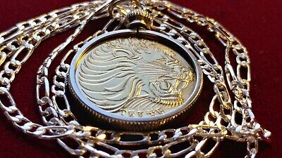 """Golden Brass Big African Lion Coin Pendant 28"""" 925 Sterling Silver 2.5MM Chain,"""