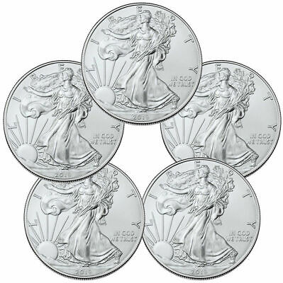 2019, Lot of Five, 1 Ounce American .999% Silver Eagles Gem BU Coins W/Free Ship