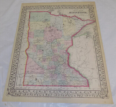 1867 Antique COLOR Mitchell Map of MINNESOTA
