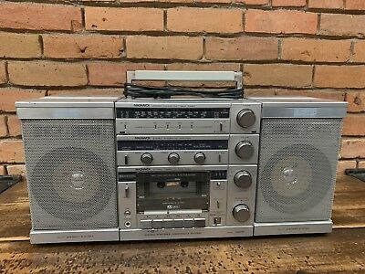 Vintage Magnavox D8626 Boombox Getto Blaster Detachable Speakers WORKS