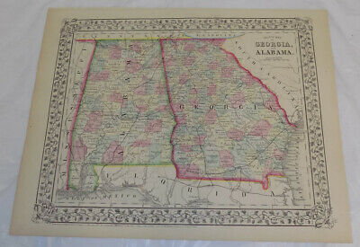 1867 Antique COLOR Mitchell Map of GEORGIA & ALABAMA