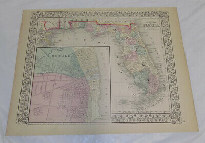 1867 Antique COLOR Mitchell Map of FLORIDA