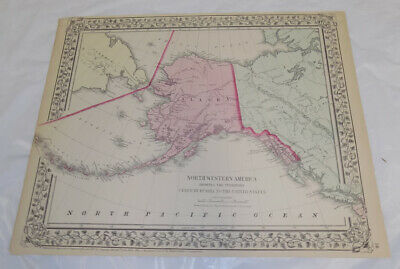 1867 Antique COLOR Mitchell Map of NORTHWESTERN AMERICA, aka ALASKA