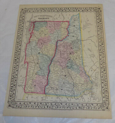 1867 Antique COLOR Mitchell Map of NEW HAMPSHIRE & VERMONT