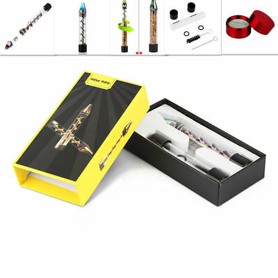 New Design Smoking Twisty Glass Blunt With Cleaning Kit + Tobacco Herb Grinder