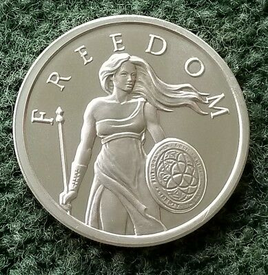 2 TROY OZ .999 SILVER SHIELD STANDING FREEDOM SILVER ROUND Art COIN COA CAPSULE