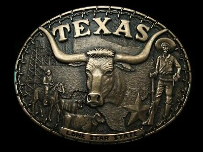 RA15148 VINTAGE 1980s **TEXAS LONE STAR STATE** SOLID BRASS BELT BUCKLE