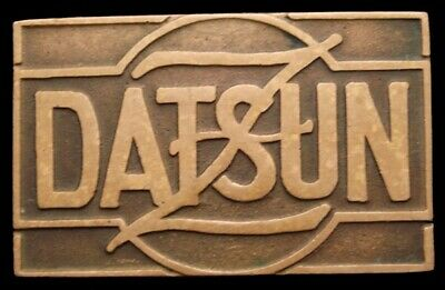 RB24132 GREAT EARLY 1970s UB ***DATSUN*** LOGO SOLID HEAVY BRONZE BUCKLE