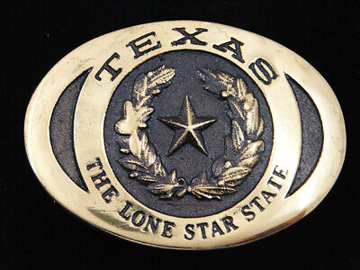 Rd11122 *Nos* Vintage 1989 **Texas The Lone Star State** Solid Brass Belt Buckle