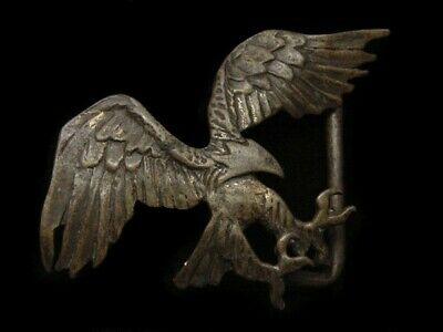 RA15172 VINTAGE 1970s CUT-OUT **AMERICAN BALD EAGLE** SOLID BRASS BELT BUCKLE