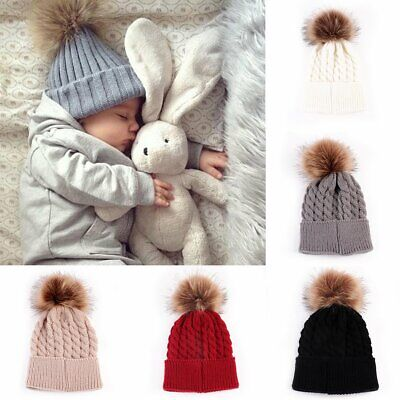 Baby Boy Girl Winter Crochet Fur Ball Hairball Knit Cap Bobble Beanie Ski Hat