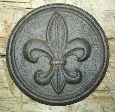 Cast Iron FLEUR DE LIS Plaque Finial Garden Sign Home Wall Decor Rustic Brown