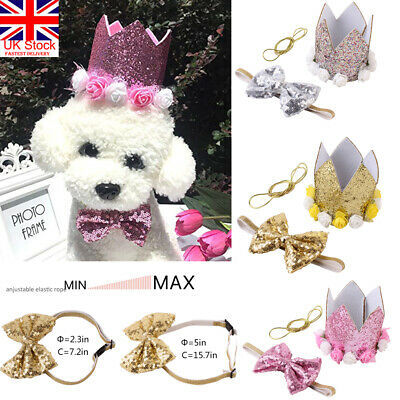 Pet Birthday Party Crown Hat & Blingbling Bow tie Collar Set for Dog Cats Kitten