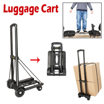 Portable Folding Cart Dolly Push Luggage Hand Truck Collapsible Trolley W/ Ropes