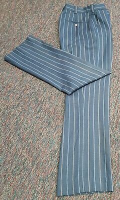 """1970's Navy pinstriped wool/polyester bootleg pant, Size 31"""" waist."""