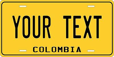 Colombia Yellow License Plate Personalized Car Auto Bike Motorcycle Custom Tag