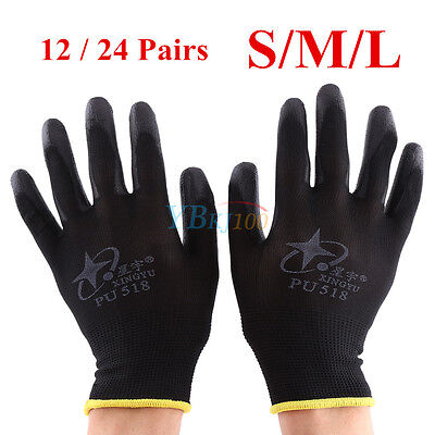 12/24 Pairs Black PU Coated Safety Work Glove Mechanic Builders Grip S/M/L NEW z