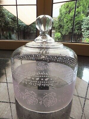 Antique Vintage Hand Painted & Etched Glass Cheese Dome
