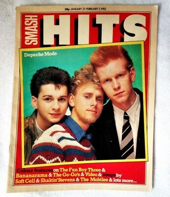 DEPECHE MODE Smash Hits Magazine 1982 New Wave Synth Pop Dave Gahan Rare Issue