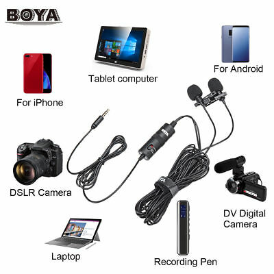 BOYA BY-M1DM Dual-Head Lavalier Clip Microphone Lavalier Clip-on w/Windshield