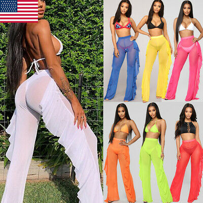 b4b752d8ec Women High Waist See Through Flared Leg Mesh Summer Beach Long Pants  Trousers US