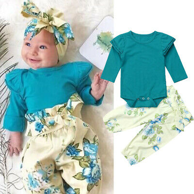 Newborn Baby Girls Clothes Romper Shirt Tops+Floral Pants Tracksuit 2Pcs Outfits