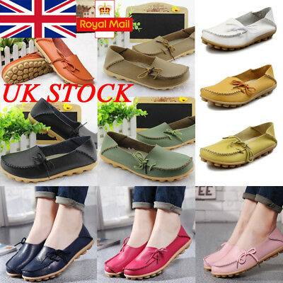 UK Womens Lazy Shoes Slip On Loafers Strappy Flat Pumps Boat Shoes Size4-7