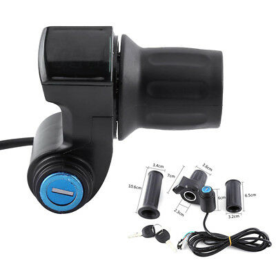 12V-99V Electric Scooter E-Bike Throttle Grip Handlebar LED Digital Meter + Key