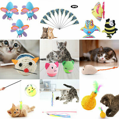 Multi Funny Pet Cat Kitten Toy Mouse Teaser Wand Feather Rod Cat Play Toys Lot