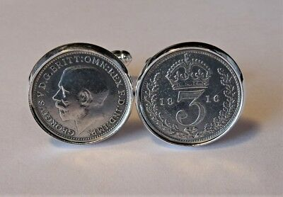 Pair Genuine High Quality Antique .925 Silver Threepence Cufflinks