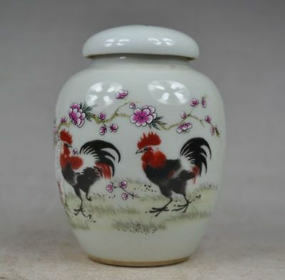 Collectible China Old Porcelain Paint Two Beautiful Rooster Storage Tank Pot Jar
