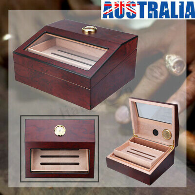 AU 50+ Count Cigar Humidor Box Wooden Cabinet Storage Humidifier Hygrometer New
