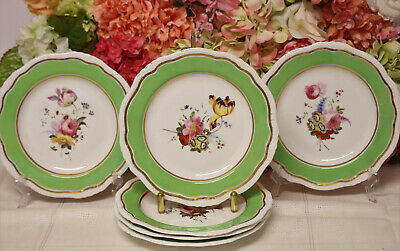 Antique English Porcelain, Hand Painted Dessert Plates (6)