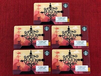 5 New Starbucks 2018 Boston City Gift Cards Lot Very Limited