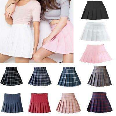 Women Tennis High Waist Plaid Skirt Flared Pleated Mini Short Skirt Maxi Dress