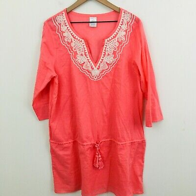 b2838bb767 Lands End Women's Swimsuit Cover Up Tunic Pink White Embroidered Large 14-16