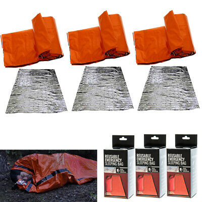 3 Heavy Duty Sleeping Bag Emergency Survival Hiking Thermal Blanket Outdoor Gear