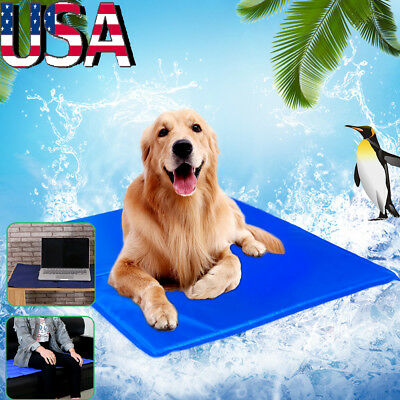 Pet Cooling Mat Chilly Pad Cooling Pet Dog Bed Indoor Summer Cool Gel Pad Blue
