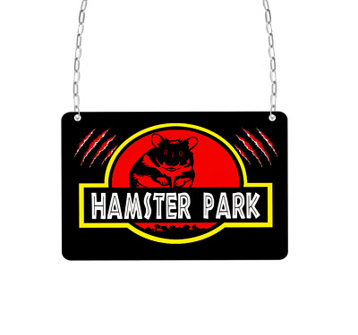 Hamster park funny cute mini metal cage enclosure signs personalised aluminium
