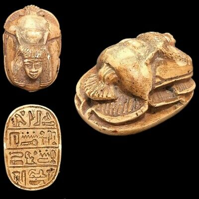 Very Rare Ancient Egyptian Glazed Scarab Beetle Top Quality 300 B.c. (1)