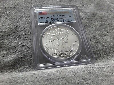 2012-(W) Silver Eagle Pcgs Ms70 First Strike Struck At West Point Label