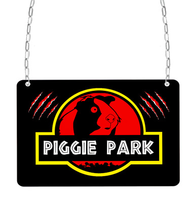 Guinea pig park jurassic mini or large metal novelty cage enclosure sign